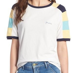 FRAME Denim Colorblock Logo Tee Women's Size S